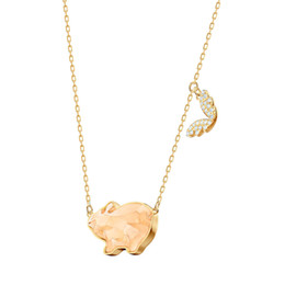 $enCountryForm.capitalKeyWord Australia - MINA BEAR 19 New High Quality PETS PIG Necklace Cute Delicate Pig Crystal Lady Clavicle Necklace Fashion Glamour Jewelry Gift