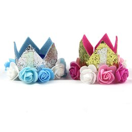 hawaii flower crown 2019 - Thematic Creative Numbers Birthday Hat For One Year Old Children Sparkling Flowers Crown Hats Baby Party Supplies Decora