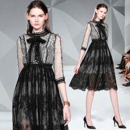 $enCountryForm.capitalKeyWord Australia - Boutique Ruffles Bow Design Lace Dress for Women Fashion Show Prom Evening Dress 2 3 Sleeve Hollow Lady Dress Retro Sweet Girl Dresses