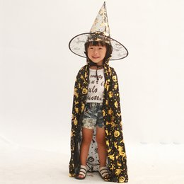 gothic toys Australia - Best Sale Halloween Toys Witch Bronzing Kids Cape+hat 2pcs sets Grim Reaper Cosplay Children Boys Girls Party Decoration Baby Dress Up