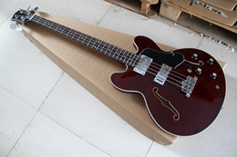 semi hollow basses NZ - New 4 strings Semi-hollow Red-brown Electric Bass Guitar with Black Pickguard,Chrome hardware,Rosewood fingerboard,offer customize