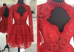 $enCountryForm.capitalKeyWord Australia - Sexy Red Keyhole Neck Back Lace Short Cocktail Prom Dress High Neck With Pearls Beaded Long Sleeves Cheap New Homecoming Dress