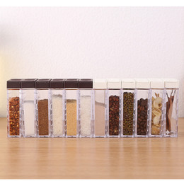salt jars bottle Australia - 6Pcs New Kitchen Spice Jar Seasoning Box Kitchen Spice Storage Bottle Jars Transparent Salt And Pepper Cumin Powder SpiceTools