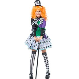 Wholesale alice wonderland cosplay costume for sale – halloween Alice In Wonderland Women Cosplay Costume Mayhem Mad Hatter Fairy Tale Halloween Material Item Type Source Characters Performanc