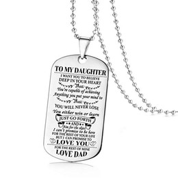 dad daughter jewelry 2019 - Fashion Family Jewelry To My Son Daughter Love Dad Mom Dog Tag Military Necklace Birthday Graduation Gift for Kids Neckl