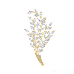 Mexican Christmas Party Decorations Australia - 2019 Fashion Trend High Quality Copper Brooch Gold Silver Wheat Ears Leaves Copper Zircon Jewelry Decoration Wedding Party Gift
