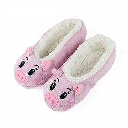 cute home slippers NZ - Cute Women Slippers Animal Winter Warm Soft Indoor Slipper Home Shoes Flats Non-Slip Comfortable Fur Slippers Chirstmas Gift