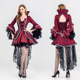 vampire queen dress 2021 - New Vampire Queen Witch Fancy Dress Cosplay Costumes Sexy Dresses For Women Female Halloween Party swallowtail Dress Uniform
