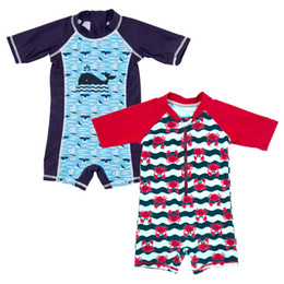 Chinese  Baby Boy One-Piece Swimsuit Quick Drying Sunscreen Bathing Swim Raglan Sleeve Cartoon Whale Crab Pattern Kids Designer Zipper Swimswear Sets manufacturers