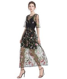 Wholesale half sleeve womens summer dress for sale – plus size Womens Designer Floral Lace Embroidery Dress Fashion O Neck Half Sleeve Dress Female Summer Contrast Color Dresses