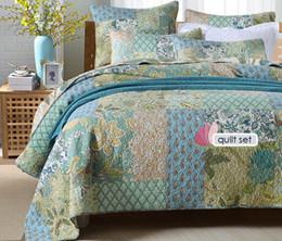 Ingrosso Trapunta stile vintage set 3 pezzi handmade copriletto patchwork trapuntato trapuntato federa copriletto queen size biancheria da letto coperta