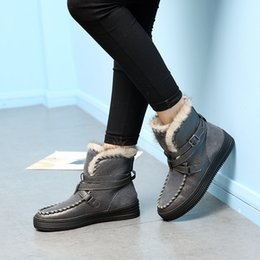 Lady Snow Boots Mid Calf Australia - 2018 Casual Shoes Women Fashion Brand Real Leather Warm Snow Boots Lady chaussure Winter Female footware Mid Calf Fur