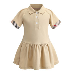 $enCountryForm.capitalKeyWord NZ - Preppy School collar kids girls dresses short sleeve soft cotton summer children clothing plaid pattern kids girls dress
