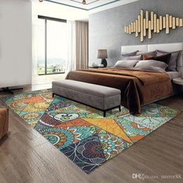 ethnic decor Canada - Retro Ethnic Style Living Room Carpet Home Decor Bedroom Carpet Sofa Coffee Table Rug Study Room Area Rugs Kids Tatami Floor Mat