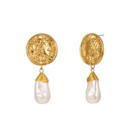 $enCountryForm.capitalKeyWord NZ - Natural Baroque Pearl Dangle Earrings With Gold Color Retro Coin Charms Earrings For Women Irregular Drop Earring Fashion Jewelry