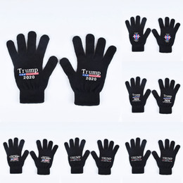 Wholesale Trump 2020 Gloves Keep America Great Letter Printed Five Finger Gloves Outdoor Sports Winter Warm Mittens 2pcs pair LJJO7505