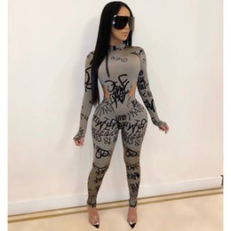 Wholesale pearl pants sexy for sale - Group buy Sexy Letter Print Two Piece Set Sweatsuit for Women Turtleneck Full Sleeve High Cut Skinny Bodysuit Pencil Pants Club Outfits