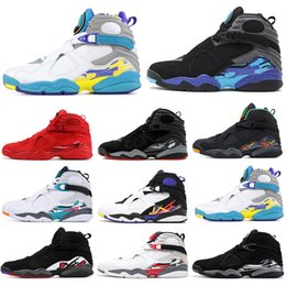 Suede lace up online shopping - 8 s Men Basketball Shoes Valentines Day Aqua White Black Chrome Countdown Pack PEAT PLAYOFF Mens Trainer Sports Sneaker