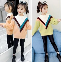 Wholesale college style sweaters resale online - Girls sweater new medium and large children hit the color college wind sweater girl wild shirt tide years