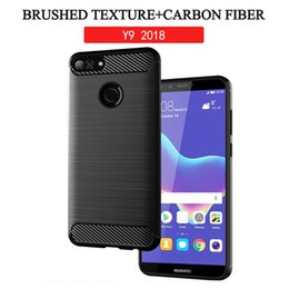 huawei smart phones honor 2019 - Brushed TPU Silicone Case for Huawei Y9 2018 Honor 10 P smart 2019 Honor 8X MAX Case Shockproof TPU Carbon Fiber Phone C