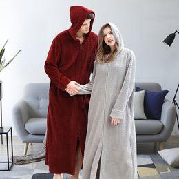 cardigan shirt sets 2019 - QWEEK Autumn New Hooded Couple Pajamas Sets 2019 Plus Size Zipper Lover Homewear Fashion Cardigan Flannel Sleepwear Bath