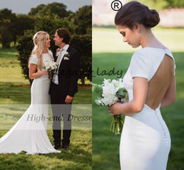 Wholesale elegant floral organza dresses wedding for sale – plus size Elegant Crepe Wedding Dresses With Short Sleeves Open Back Mermaid sweep train bohemian country beach Bridal Gowns