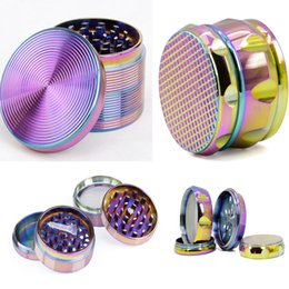 Discount ice designs - Alloy Ice blue Tobacco Smoking Herb Grinder With Diamond Shape 4 Layers Chamfer Side Concave Herb Grinder Diameter 63MM
