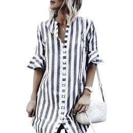 Plus Size Striped Blouse Australia - 2018 Summer Striped Shirt Casual Loose Flare Sleeve Blouse Women Button V Neck Office Long Sleeve Shirt Women Blusas Plus Size