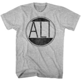 Grey Tee Shirts UK - Muhammad Ali T-Shirt Distressed Circle Grey Heather Tee