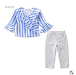 1dbb8a16d991 Kids Designer Clothes Girls 2 Piece Clothing Outfits Set 2019 Long Sleeve  Striped Ruffle Blouse Tops Ripped Jeans Pants Baby Girls Clothes