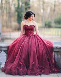 Silver quinceanera dreSSeS online shopping - New Burgundy Strapless Ball Gown Princess Quinceanera Dresses Lace Bodice Basque Waist Backless Long Prom Dresses
