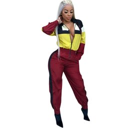 $enCountryForm.capitalKeyWord Australia - Hot 2018 Color Patchwork Hooded Jumpsuits Zipper Front Long Sleeve Loose Romper Casual Streetwear Palysuit Women Tracksuit