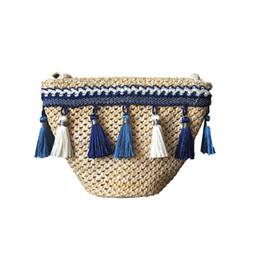 Mini Hand Bags NZ - Summer Tassel Knitting Straw Bag Mini Beach Bag Women Travel Rattan Tote Knitted Hand Bags Girls Shoulder Tote Keys Coin Bag 497