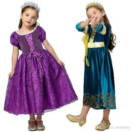 velvet cosplay UK - Girls Princess Dress Lace Mesh Gold Velvet Winter Dress Kids Clothes Girls Halloween Cosplay Stage Performance Costume
