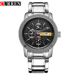 $enCountryForm.capitalKeyWord NZ - CURREN Luxury Sport Quartz Men Wrist Watch Analog Round Wristwatch Black Dail Stainless Metal Band Hours Date Relogio Masculino 8069