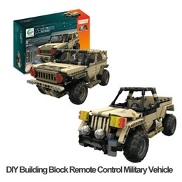 Building Block Rc NZ - DIY Building Block Remote Control Military Vehicles RC Military Hummer Pickup Truck USB Charge Cool Gifts for Kids