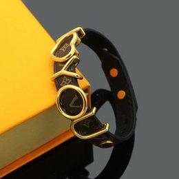 $enCountryForm.capitalKeyWord Australia - Hot Sale Brand Named Bracelets Lady Print Flower V Letter Design Leather Bracelet Bangle With 18k Plated Gold Hollow Out I Love You Letter
