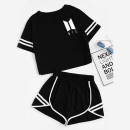 Nova primavera e verão terno de lazer feminino, alfabeto impresso escondido calças curtas terno, 2019 em Promoção