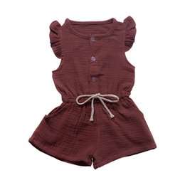 $enCountryForm.capitalKeyWord UK - Summer children's wear small flying sleeves jumpsuit shorts one with solid color open a row of button children's clothing