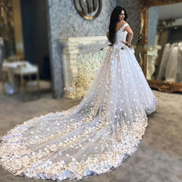 puffy winter wedding dresses NZ - Saudi Arabic Wedding Dresses 3D Floral butterfly Puffy White Pure Lace Up cathedral train Vestido De Noiva Casamento gelinlik Bridal Gowns