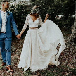 China Plus Size Long Sleeves A-Line Two Pieces Beach Country Wedding Dresses 2019 Chiffon Ruffles Lace Top Boho Custom Made Bohemian Bridal Gown supplier cap sleeve sheer top long dresses suppliers