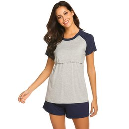 f906f28ef7763 Nursing Pajamas NZ - Women Casual Short Sleeve Maternity Nursing Elastic  Waist Nightwear, Home Breastfeeding
