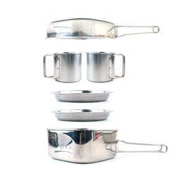 BBq stainless kitchens online shopping - Stainless Steel Outdoor Camp Kitchen In Bowl Set Picnic Cookware Bbq Combination Mountaineering Portable Hot Sale gtf1