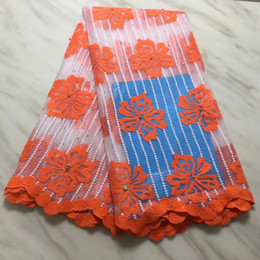 Net fabric for dresses online shopping - 5Yards pc Hot sale orange flower african milk silk lace and white french net lace fabric for dress BN130