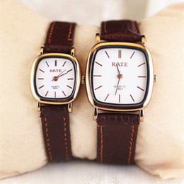 Low price Leather beLts online shopping - Square small dial ladies watch round large dial men s casual belt watch lovers lover simple low price watch fashion style gift