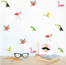 cartoon glass stickers 2019 - Cartoon Rainbow Balloons Kids Room Stickers Watercolor Tropical Birds Decals Wall Sticker Art Wall Poster Decal for Chil