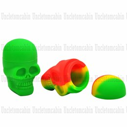slick oil NZ - Skull Style Non-Stick Silicone Wax Oil Concentrate Containers Essential Slick Oil 15ML FDA Silicone Storage Jars Glass Dab Tool Accessories