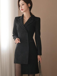 Striped Slim korean dreSS online shopping - 2019 Korean version of the spring of the latest color matching irregular Slim thin office lady dress