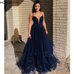 $enCountryForm.capitalKeyWord Australia - HONGFUYU A-line Pretty Tulle Prom Dress Vestidos Floral Rhinestone Formal Evening Gowns Party Dresses Criss Cross Strappy Back