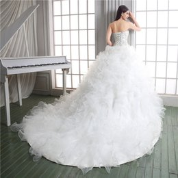 $enCountryForm.capitalKeyWord NZ - Custom Made Beading Cascading Ruffles Organza Ball Gown Wedding Dress Tiered Lace-up Court Train Chapel Castle Bride Dress Plus Size Vestido